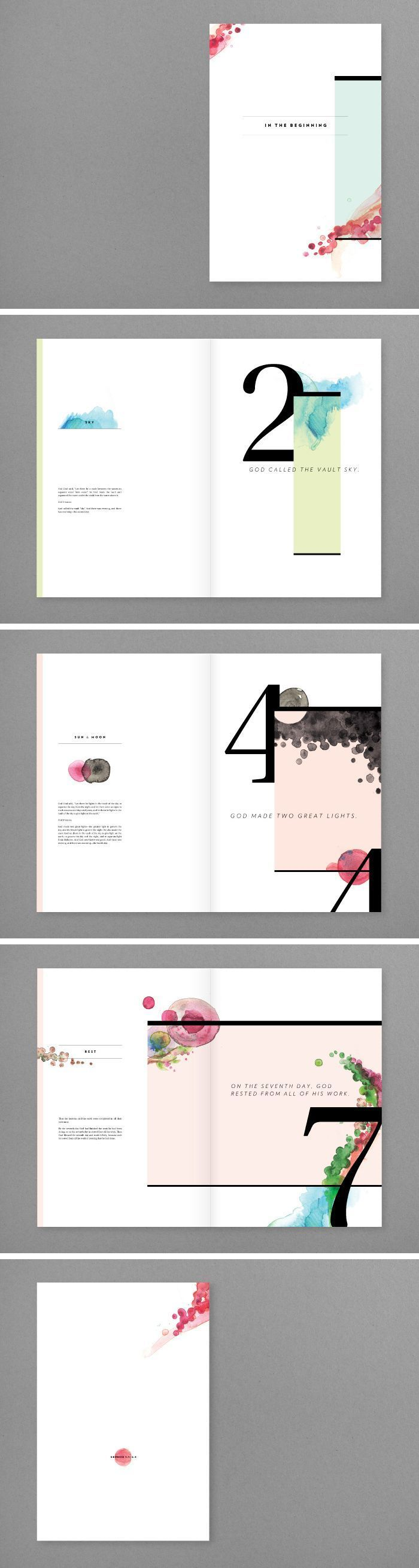 The combination of water color and typography is elegant and simple. The large page numbers stand out to the reader and create a unique spread.