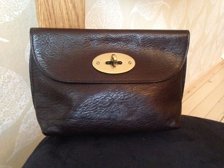 Mulberry locked cosmetic purse in chocolate Brown.