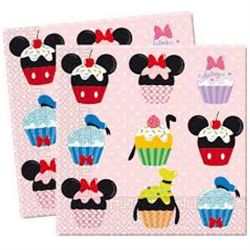 Cupcake servieter med Mickey og fedtmule - Anders And og Minnie