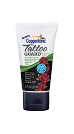 Coppertone® Tattoo GUARD™ Lotion SPF 50 Sunscreen for tattooed areas. THIS IS JUST WHAT I'VE BEEN LOOKING FOR! AND it has a link to a $1.00 off coupon.