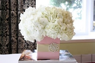 White and Pink Hydrangea Centerpiece