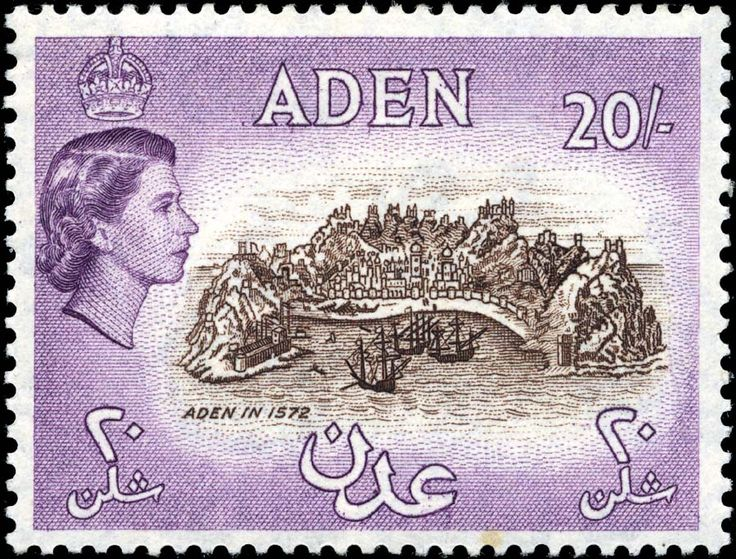 Aden stamp, 1953, with QEII,  depicting Aden based on an old map way back in 1572.   Twenty shillings meant 1 GBP, but in Aden 20 shillings equalled 2,000 cents.  AM