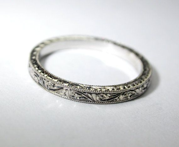 $375, available in rose gold (msg) Hand Engraved 14k White Gold Thin Wedding Band / Ring. 2 mm width. Bridal. Engagement.
