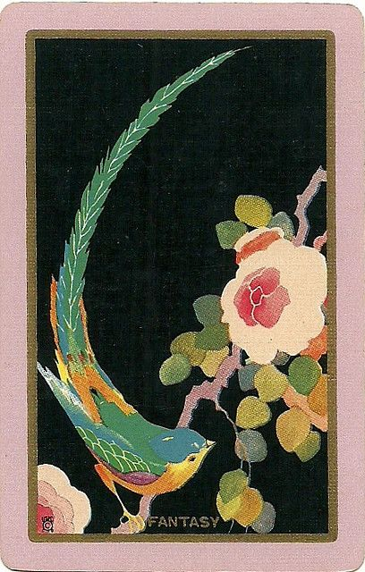 vintage playing card #vintage Fainting! Love the bird (of course!), the pink, green, blue and then, the black background. Be still my heart.