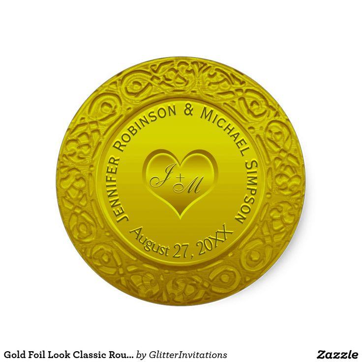 Gold foil look classic round sticker