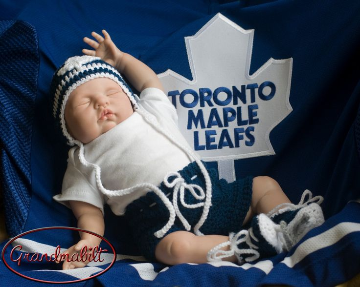 MAPLE LEAF BABY, Toronto Maple Leafs pacifier not included, Hockey Boy Crochet, Blue White Hockey, Crochet Hockey Outfit, Knit Hockey Outfit by Grandmabilt on Etsy