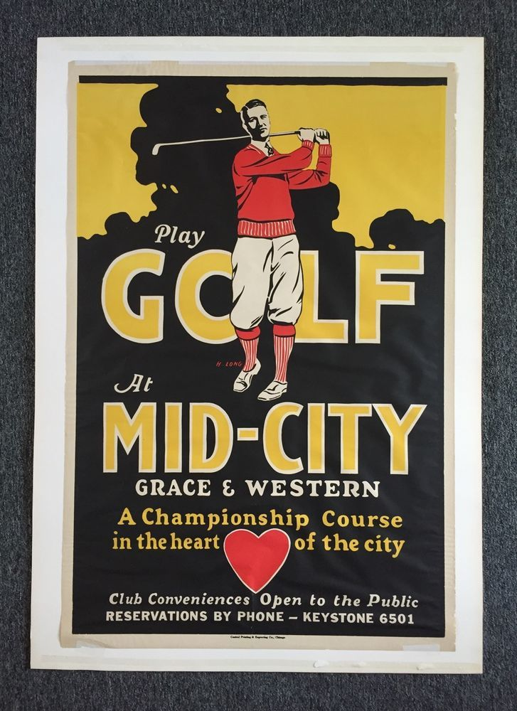 ULTRA RARE 1920's MID-CITY GOLF COURSE Chicago IL Poster Sign 42x27 Amazing LOOK