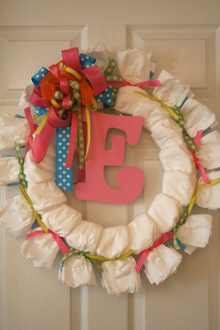 Perfect for a baby shower decoration and to hang on the nursery door! I want to make one for the next shower I throw!