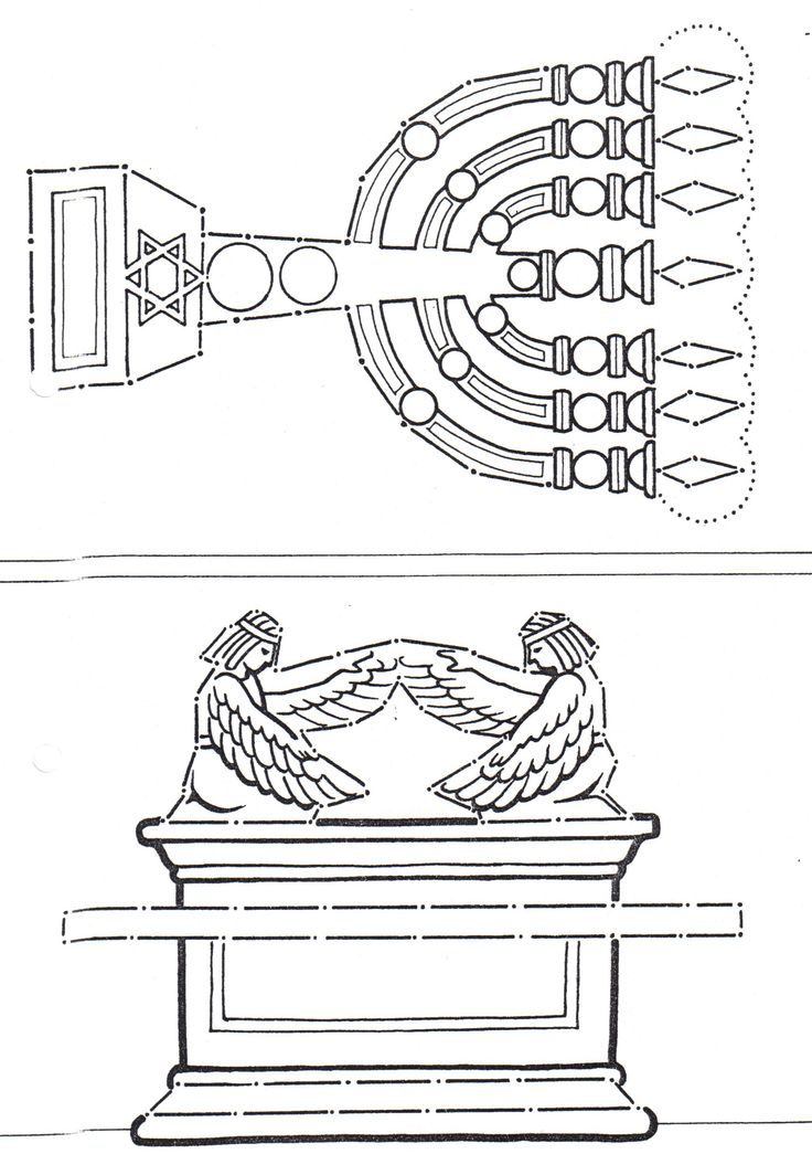 Ark of covenant and lampstand from the tabernacle and for Tabernacle coloring pages free