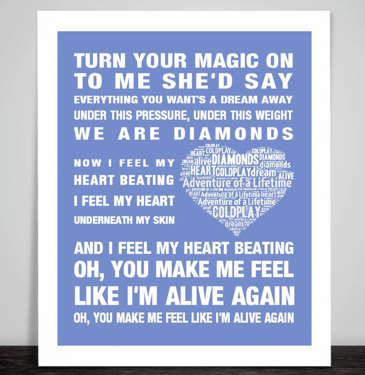Coldplay Adventure of a Lifetime Music Love Song Lyrics Art Print Poster Heart