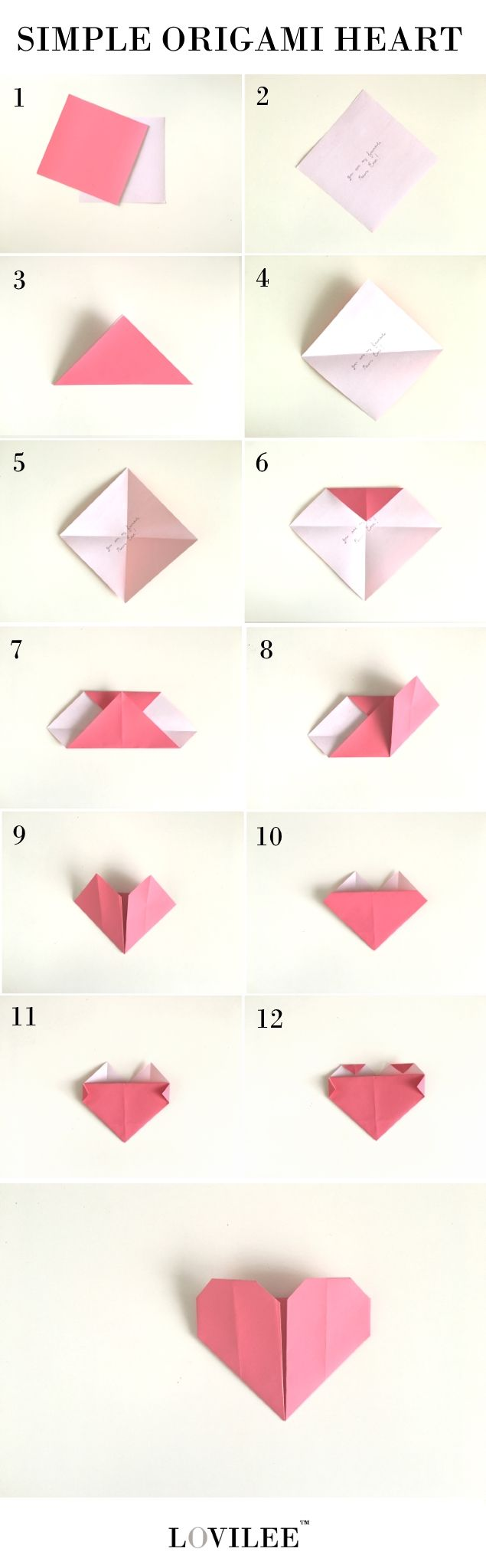 Simple origami heart step by step instructions