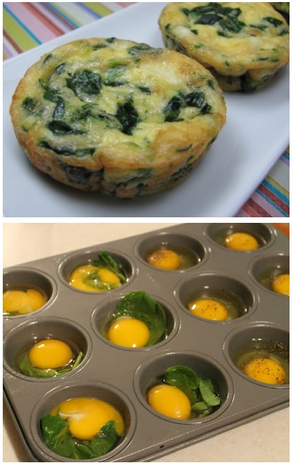 Simply spray a muffin pan with olive oil cooking spray ( or wipe down each cup with Olive Oil , crack an egg into the cup, add seasoning ( a dash of hot sauce, salt pepper, onion powder… ) and a few bits of leftover vegetables. In this case, leftover spinach. If you like, you can use a plastic fork to slightly scramble each egg in the cup. Cook at 350 degrees for 10-12 minutes. Enjoy.