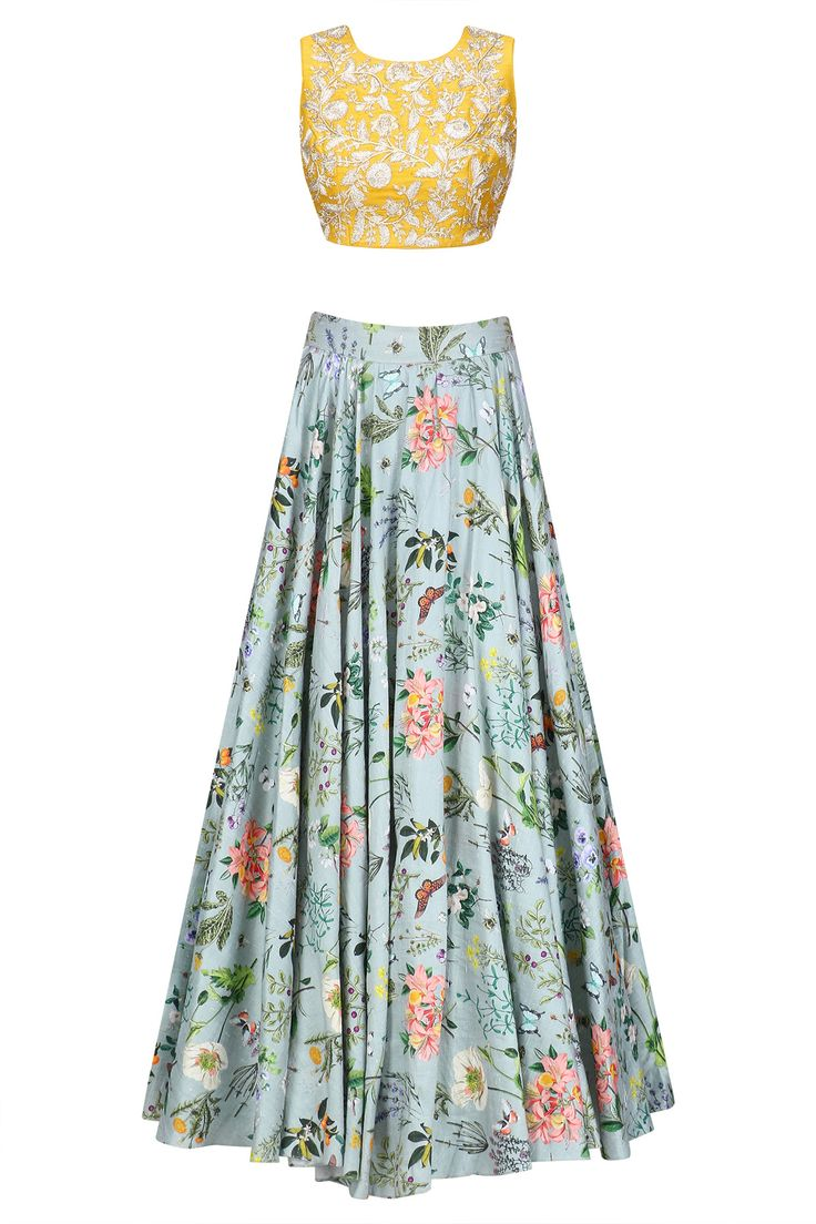 Mustard embroidered and blue printed lehenga set available only at Pernia's Pop Up Shop.