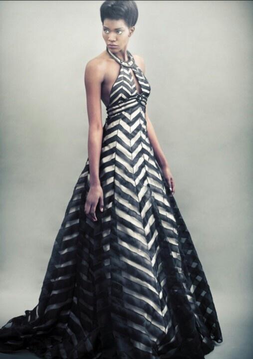 Black and white chevron gown