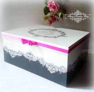 Pudełka na prezenty ślubne - prostokątne .Print room , kryształki i różne kolory wstążek - Decoupage.