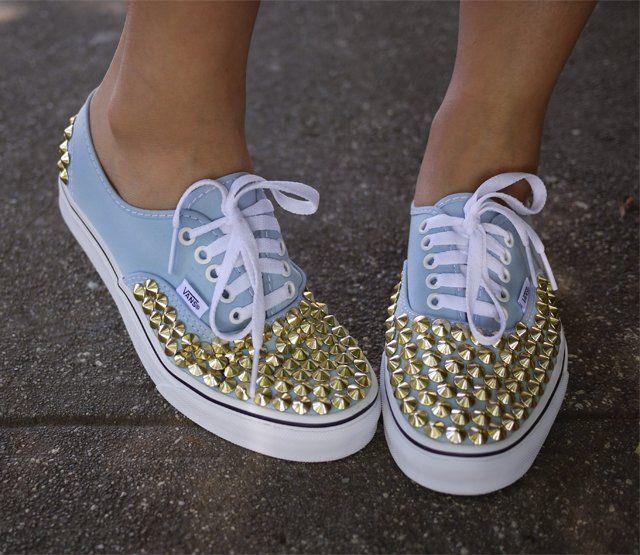 DIY Studded Vans Authentic Sneakers