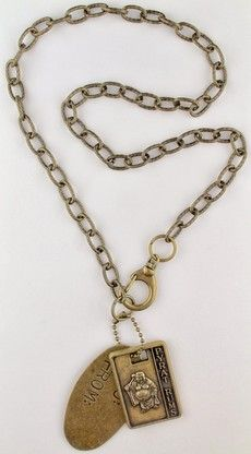 Pyrat Rum and ID antique gold pendants on chain, $29