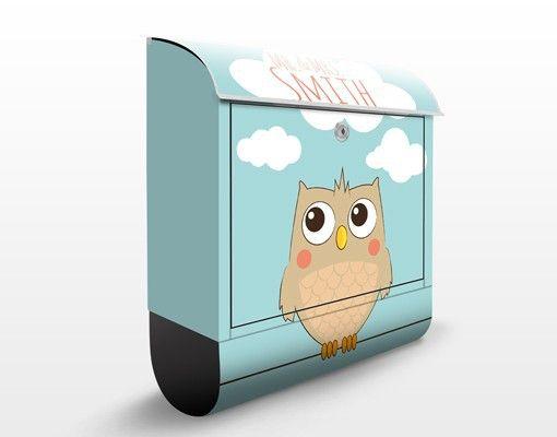 #Briefkasten mit Zeitungsfach - No.JS178 Wunschtext Hello Owl #Eule #Eulen #Wand #Deko #Owl #Owls #Uhu