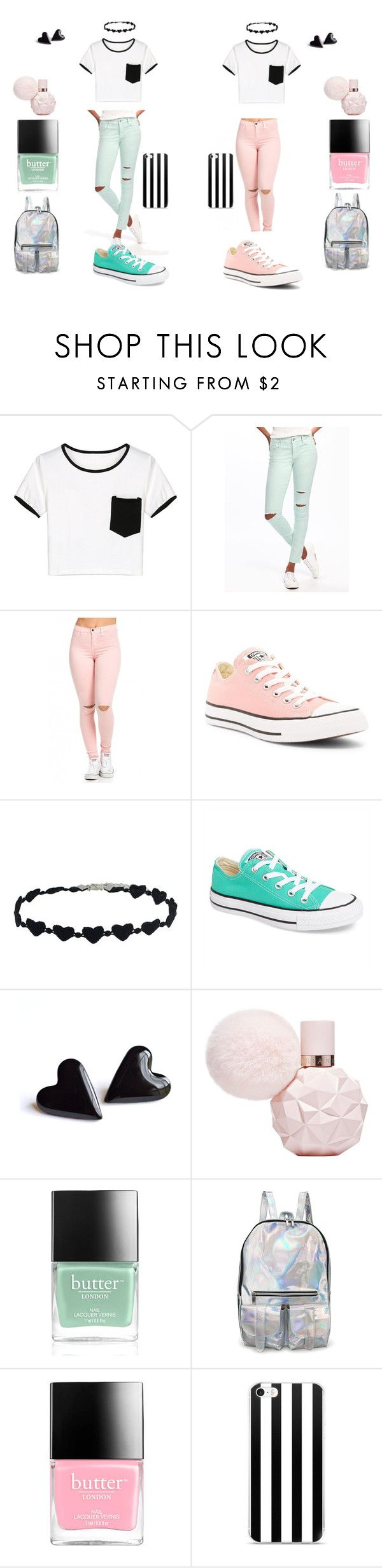 """""""Best friends (Cotton Candy Ver.)"""" by alicerougebara on Polyvore featuring WithChic, Old Navy, Converse y Butter London"""