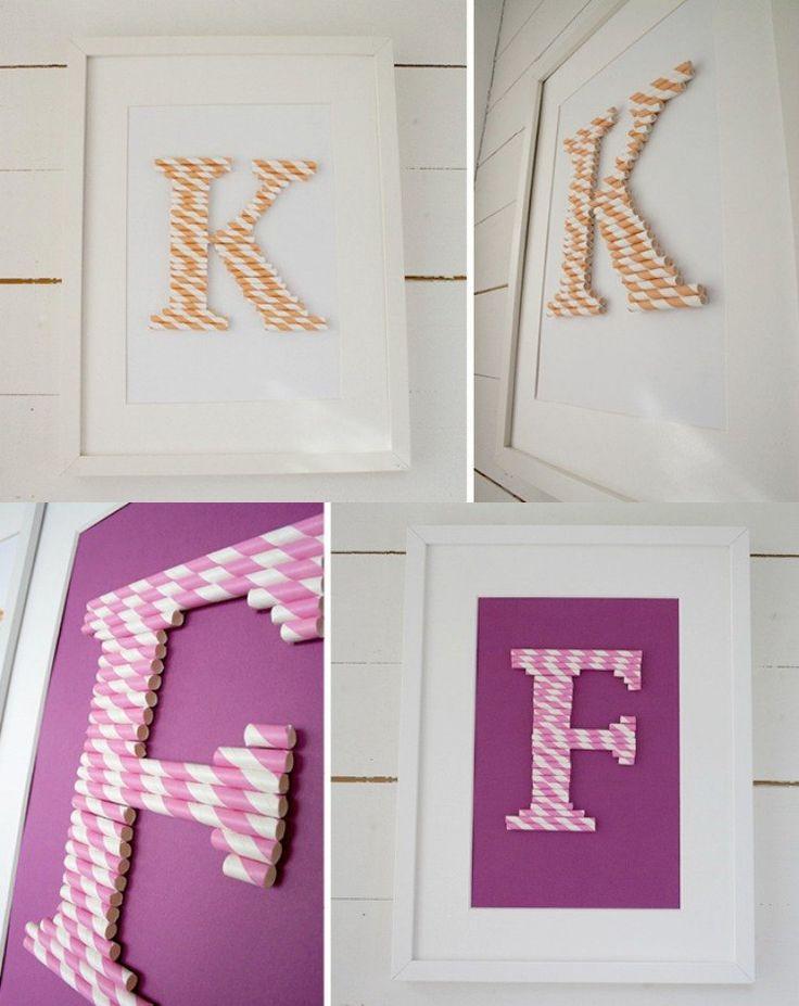 basteln-strohhalmen-kinder-deko-monogramm-wanddeko-bilderrahmen-papier