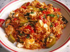 Mediterrane Zucchini – Reispfanne mit Feta   – Essen
