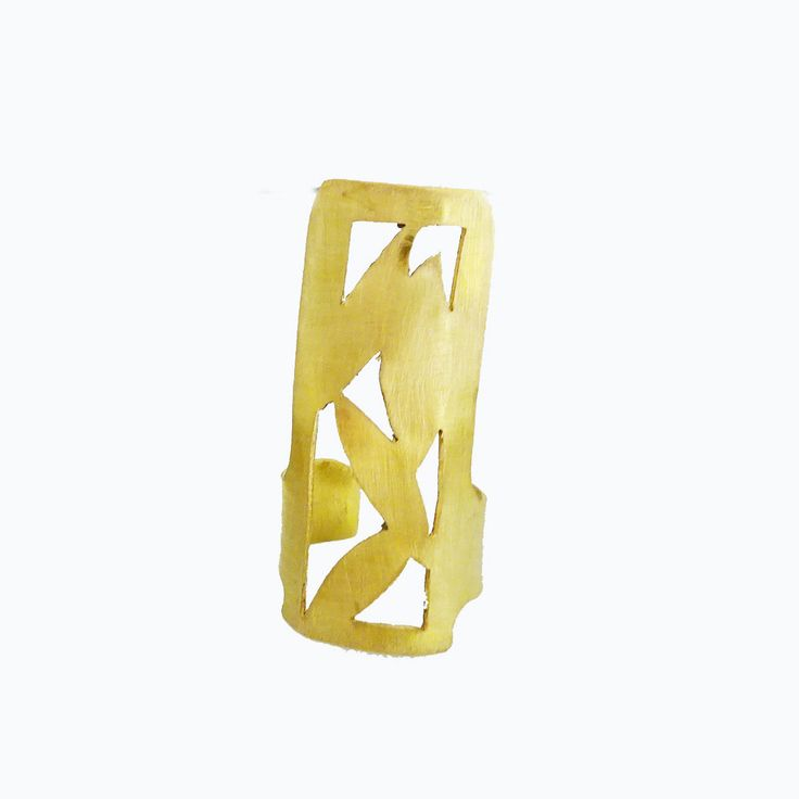 Cigar band | Brass Ring | READY TO SHIP | Art Deco | Brass Ring | Statement ring | Bamboo leaf | Ladies jewelry | Ring by arwcreation on Etsy