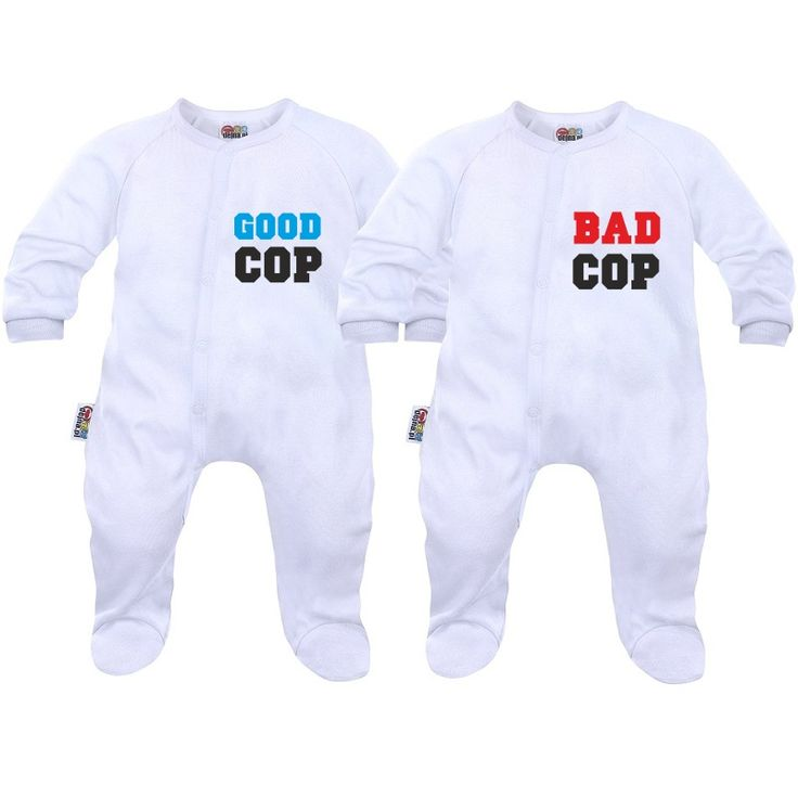Deux pyjamas bébé jumeaux / jumelles good cop / bad cop - SiMedio