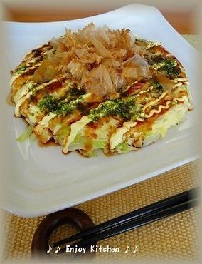 レンジで簡単♪粉なし!豆腐入りお好み焼き  Healthy Ver. ^_^/