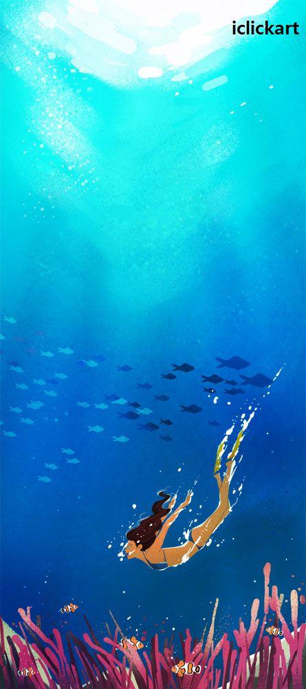 #여름 #해변 #스쿠버다이빙 #수영 #바다 #휴가 #이미지 #일러스트 #엔파인 #아이클릭아트