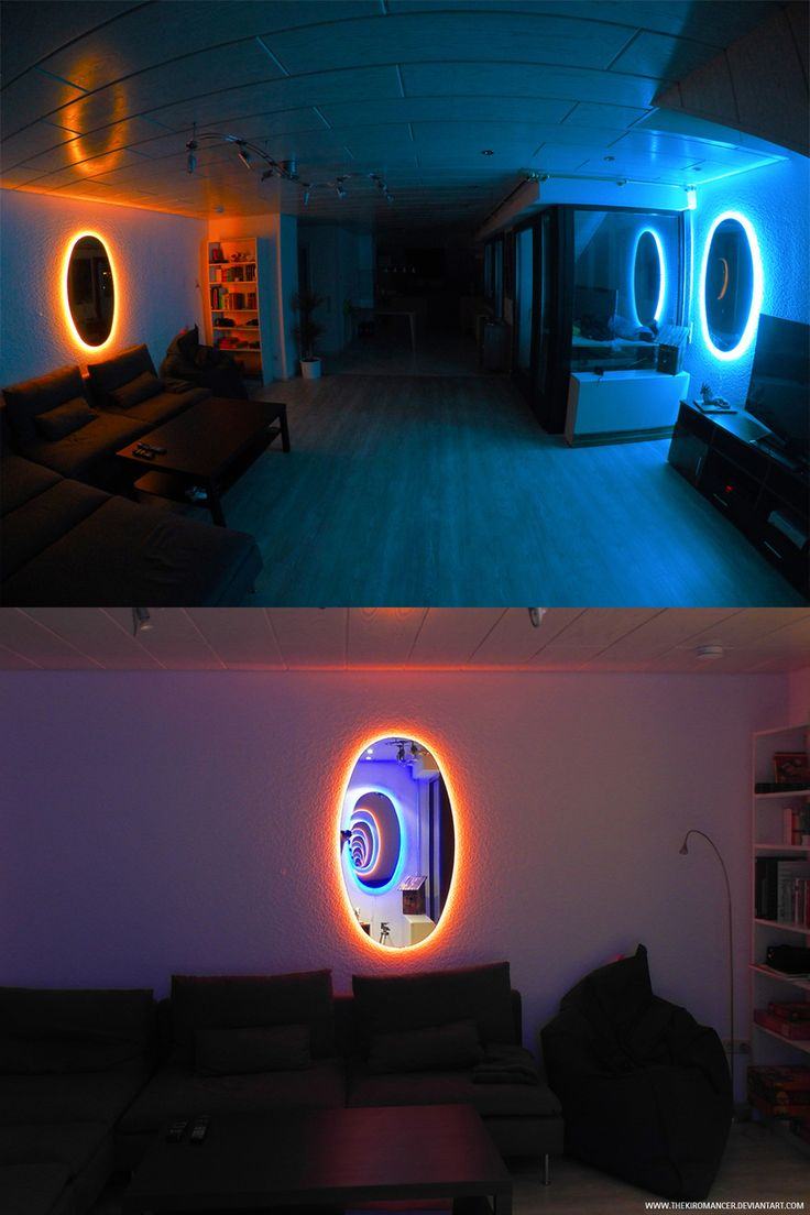 game room lighting ideas. decoracin creativa al estilo del videojuego portal con espejos y luz de nen game room lighting ideas