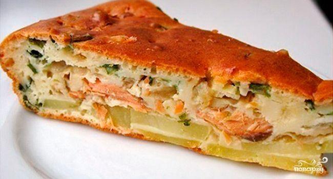 Картофельный пирог с рыбными консервами