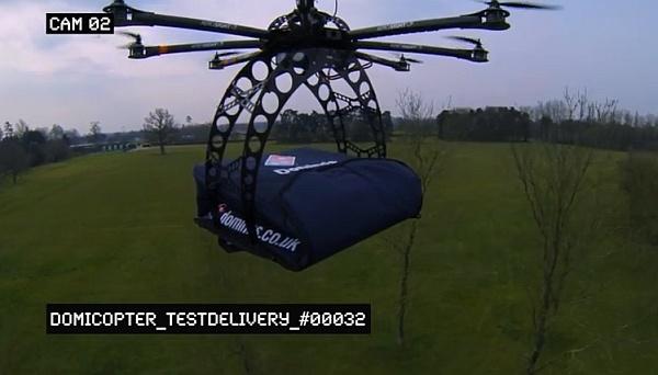 ピザ宅配用リモコンヘリコプター「DomiCopter(ドミコプター)」