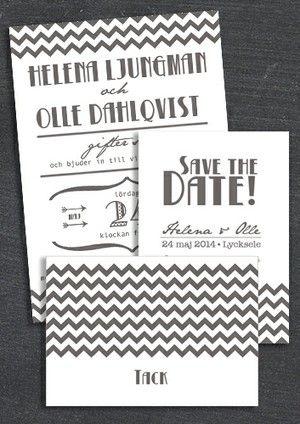 """Paket: """"All I want"""" grå, Save the date, inbjudan & tackkort (värde 765 SEK)"""