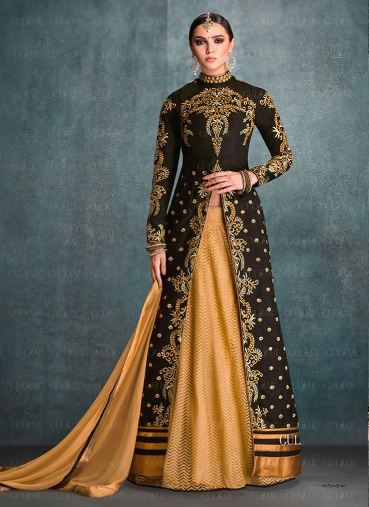Buy designer lehengas for women. Shop online latest chic beige and black banglori silk and net a line lehenga choli for party and wedding. Customization and free shipping worldwide.