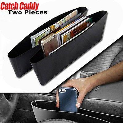 2Pc Black Car Auto Accessories Seat Seam Storage Box Bag Phone Holder Organizer