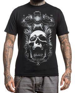 Sullen-Kleidung-Jose-Perez-Jr-Herren-T-shirt-Tee-Schwarz-Totenkopf-Tattoo-Gotik