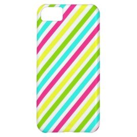 Funky Neon Pink Blue Green Yellow Stripes Cover For iPhone 5C