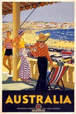 1930's Vintage Beach Travel Poster Australia