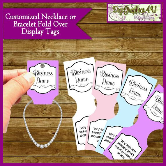 "Necklace or Bracelet Display Tags are perfect for hand crafted items, jewelry, gifts, showers, parties and more. This listing is for DIGITAL files in high resolution 300 dpi. You will an 8.5in x 11in .jpg file containing this design. This is a .jpg file. Please be sure you can open .jpg (most programs can).  Each care tag is 1.75 x 2.5"" with 8 on each 8.5 x 11 sheet and will be personalized by me and are ready for you to print. You can either print on your own printer or load the digital…"