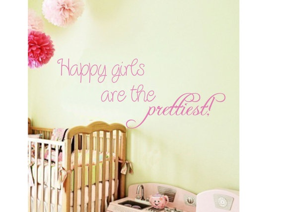 Girls Quote Saying Happy Girlsbaby toddler nursery by AllOnTheWall, $17.00