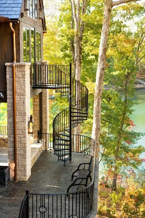 Spiral wrought iron staircase dream house pinterest - Spiral staircase wrought iron ...