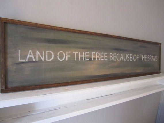 9x41 Land of the free because of the brave distressed sign on reclaimed wood * Patriotic wall decor* Comoflaugh* Freedom* USA