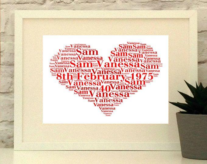 Ruby Wedding Anniversary Personalised Heart Print
