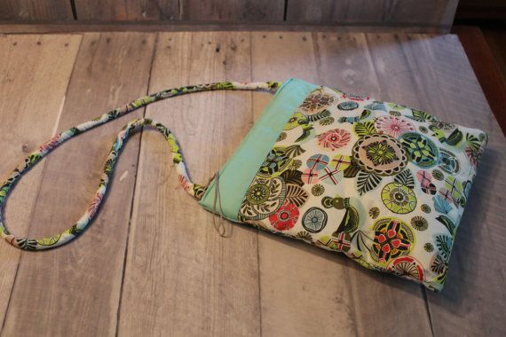 Bird medallion print  quilted shoulder bag by sewmillionstitches