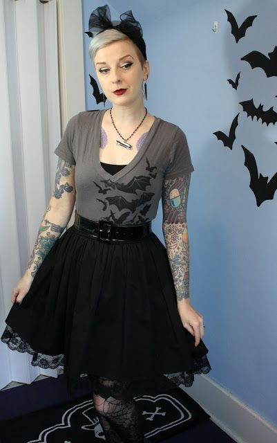 Coffin Kitsch: Some of This Week's Work Outfits #bats #goth #graylavendarhair  #outfit