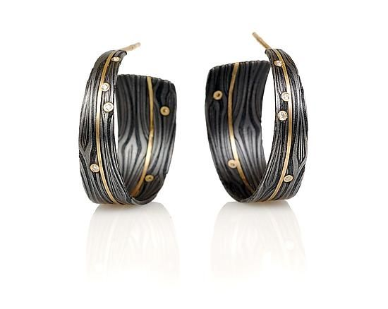 Galaxy Hoops by Victoria Moore: Gold, Stone, and Steel Earrings available at www.artfulhome.com