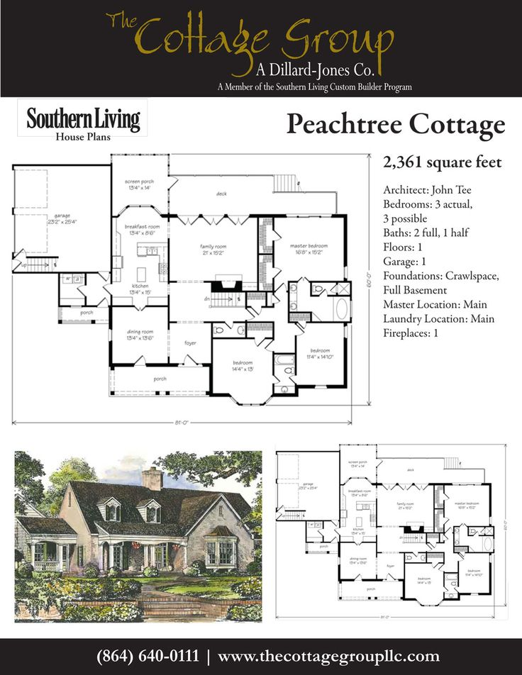 Peachtree cottage the cottage group southern living for Southern cottage house plans with photos