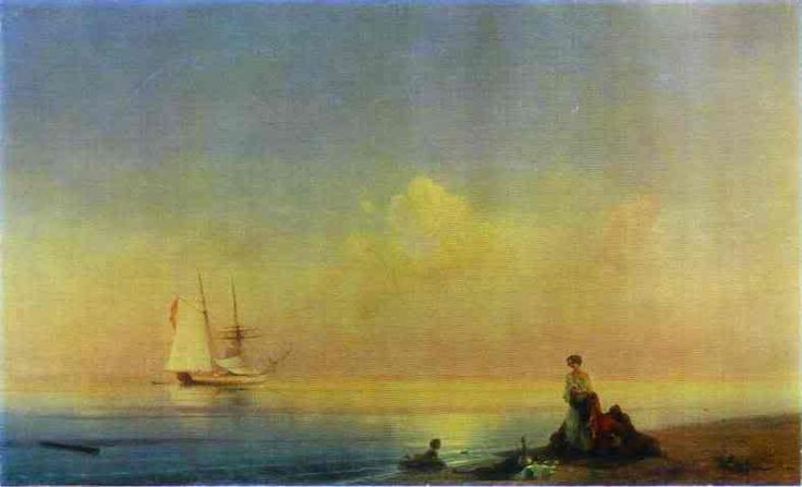 Seashore. 1840. Oil On Canvas. The Tretyakov Gallery, Moscow, Russia. Photo:  This Photo was uploaded by opilconst. Find other Seashore. 1840. Oil On Can...