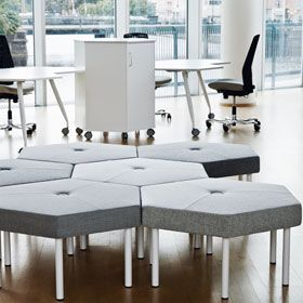 TRIXAGON STOOL The stool has the same flexible, hexagonal shape as the other items in the series, is compact and can be used in many different environments.