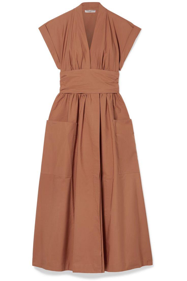 Three Graces London | Clarissa cotton-poplin wrap midi dress | NET-A-PORTER.COM 3